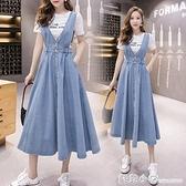 牛仔裙背帶裙女2021春季新款時尚百搭修身顯瘦高腰吊帶裙半身長裙 蘇菲小店