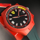 星晴錶業-FERRARI法拉利男錶,編號FE00012,42mm紅色錶殼,深黑色錶帶款