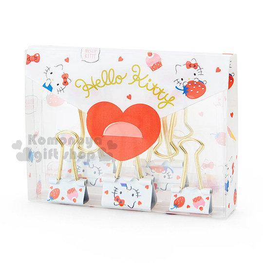〔小禮堂〕Hello Kitty 造型長尾夾組《9入.白.草莓.蛋糕.小愛心.滿版》幸福女孩系列 4901610-33584