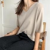 超火cec短袖女T恤2020新款寬鬆森女慵懶風垂感超仙冰絲針織衫上衣 韓國時尚週