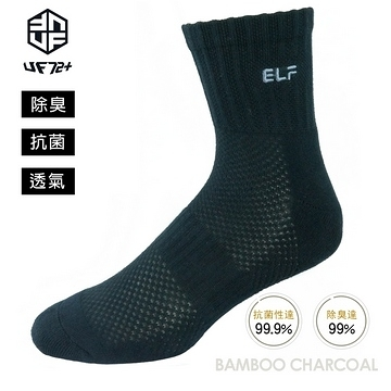 [UF72] elf除臭竹炭網狀透氣足弓氣墊襪UF5815-黑色24-26