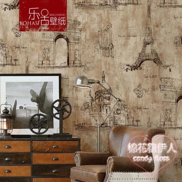美式復古懷舊工業風巴黎鐵塔咖啡廳壁紙LVV2703【棉花糖伊人】