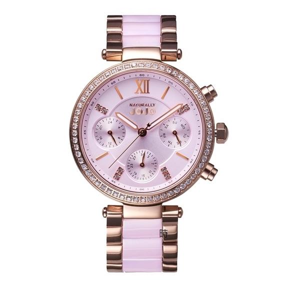 NATURALLY JOJO 奢華 JO96973-10R 三眼晶鑽錶 / 氣質粉