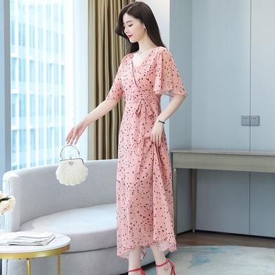 洋裝 雪紡裙子碎花甜美連身裙法式初戀新款女裝夏季粉色雪紡長裙小清新裙子T105依佳衣