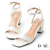 D+AF 夏日魅力.一字繫踝方頭高跟涼鞋*白
