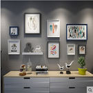 照片牆置物架現代簡約相框牆實木客廳相片牆...