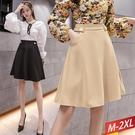 雙側鈕釦腰帶口袋裙(2色) M~2XL【...