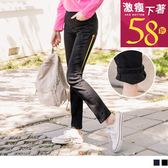 《BA4425-》鬆緊腰頭配色線小口袋內刷毛窄管褲 OB嚴選
