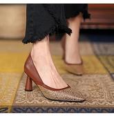 手工真皮女鞋34~39 2021韓版牛皮小方頭中跟鞋 ~棕色