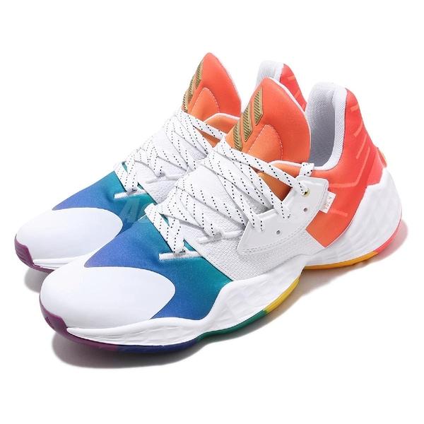 【六折特賣】adidas 籃球鞋 Harden Vol.4 GCA Pride 白 彩色 男鞋 彩虹系列 哈登 運動鞋【ACS】 FX4797