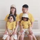 莫藍迪黃純色全棉親子裝情侶裝(小孩)
