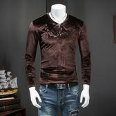 韓版 男士長袖T恤2016秋季新款男裝大滿花V領打底上衣潮男金絲絨體恤衫 韓先生