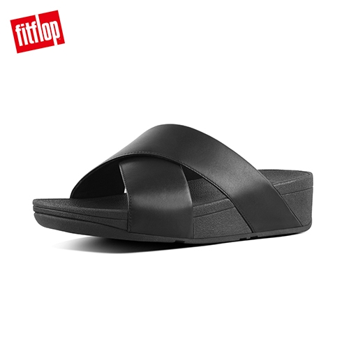 當季熱銷款【FitFlop】LULU LEATHER CROSS SLIDES 經典交叉涼鞋-女(黑色)