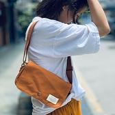 帆布側背包-復古翻蓋迷你郵差包男女單肩包4色73xo35【時尚巴黎】