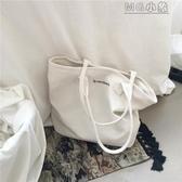MG 帆布包-韓版簡約大容量帆布包女單肩慵懶風文藝小清新學生手提購物袋