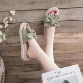 拖鞋女2020夏天新款時尚外穿百搭厚底蝴蝶結網紅涼拖鞋ins潮夏季