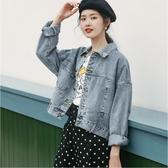 【YPRA】復古短版牛仔外套女韓版寬鬆夾克上衣