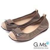 G.Ms.* MIT系列-拼接鱷魚紋皮帶飾釦牛皮娃娃鞋*魅力灰