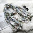 韓版長款綠色清新樹葉減齡圍巾 WM-5596 | OS小舖