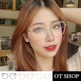OT SHOP [現貨] 平光眼鏡 不規則方形金屬拼接膠框 顯臉小 韓系復古文藝 金黑/淺茶金/透明金框 W69