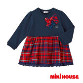 MIKI HOUSE 可愛蝴蝶結洋裝 (藏藍)
