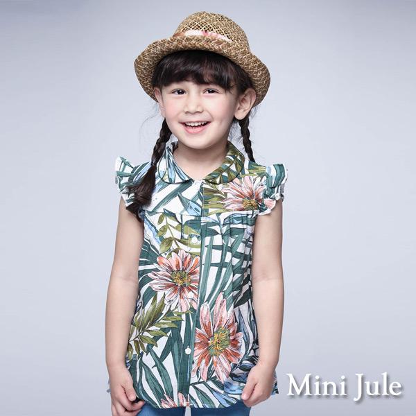 Mini Jule 童裝-上衣 彩繪熱帶花草荷葉袖襯衫(綠)