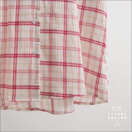 襯衫    經典日氛格紋棉麻襯衫    二色-小C館日系
