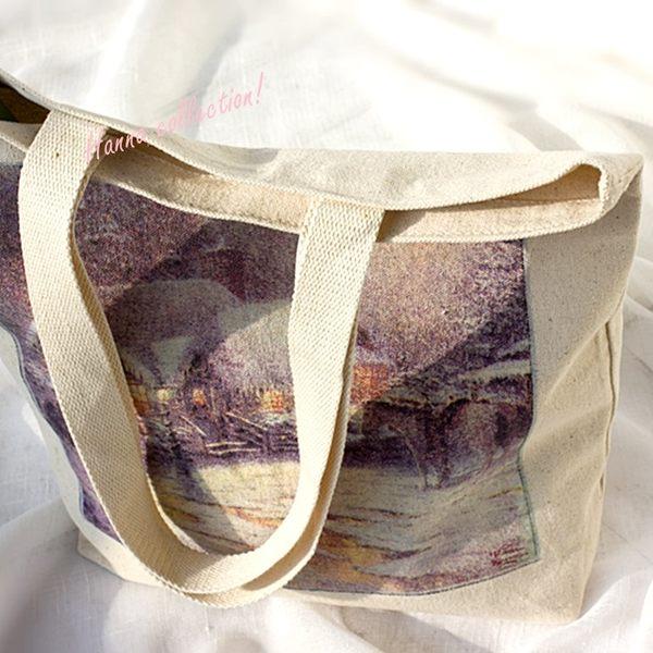 《花花創意会社》法國外流。 美到哭油畫棉麻購物袋 【H5772】