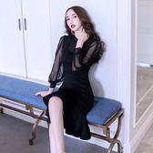洋裝秋季長袖女裝氣質性感收腰裙網紗魚尾連身裙女689GT2F-261-B快時尚