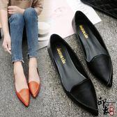 尖頭平底鞋女淺口單鞋低幫休閒鞋瓢鞋簡約四女鞋