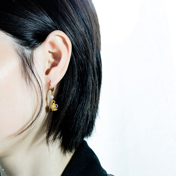 Z.MO鈦鋼屋 銅鍍金 合金耳環 皇冠彩鑽耳環 水鑽耳環 女性耳環 送禮物推薦  一對價【EKG740】