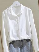 棉麻白色襯衫女春秋新款寬鬆韓版長袖原宿襯衣上衣設計感小眾 格蘭小舖