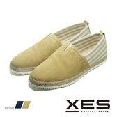男鞋 XES 夏日休閒鞋 草編鞋 平底懶人鞋 樂福鞋 時尚休閒鞋_淺咖啡