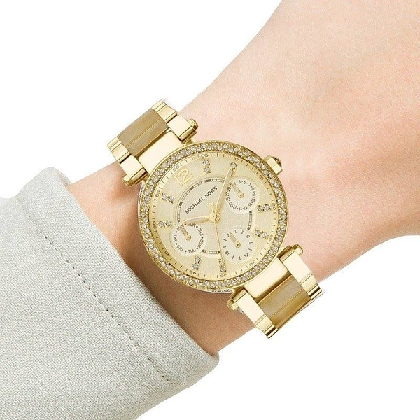 MICHAEL KORS 情人節 過年 Women's Parker 6056 鑲鑽圓盤33mm鋼帶石英女錶(預購商品)