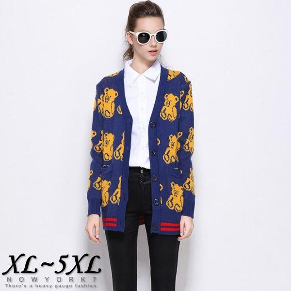 大尺碼 歐美小熊針織衫/毛衣 外套 XL~5XL【紐約七號】A1-286