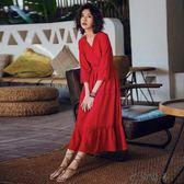 海邊度假長裙V領顯瘦紅色連身裙
