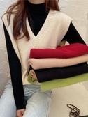 秋冬韓版新款寬鬆套頭毛衣網紅V領外穿針織背心馬甲女裝ins潮 雅楓居