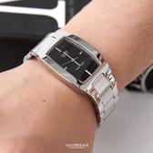 CASIO卡西歐長方框黑面手錶 不鏽鋼錶帶 柒彩年代【NEC118】