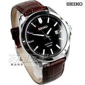 SEIKO 精工錶 簡約時尚真皮錶 男錶 黑面/深咖啡 日期顯示視窗 SGEH49P2 7N42-0GD0C
