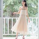 【現貨下殺】文藝少女刺繡古風吊帶裙 長裙 洋裝連衣裙