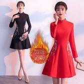 民族中國風新款冬季改良式旗袍加絨加厚保暖少女中長款洋裝女 DN20810【旅行者】