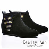 ★零碼出清★Keeley Ann 帥氣焦點 ~ 鉚釘異材質拼接全真皮內增高短靴(黑)