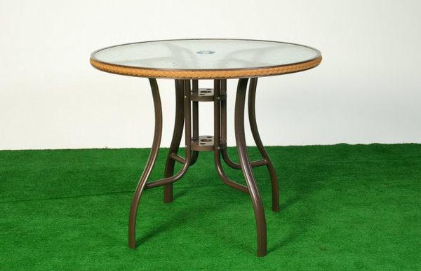 【南洋風休閒傢俱】戶外桌椅系列 - 比利時桌椅組 戶外桌椅組 90CM圓桌 鋁合金鋁板椅(A47A12 A14R94)