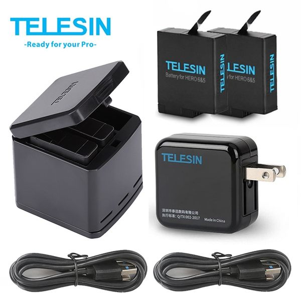 TELESIN 收納式電池充電器套裝(含電池2顆+Type C線+插頭) for Hero7/6/5