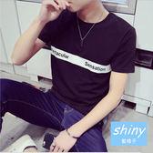 【Y036-5】shiny藍格子-瑕疵特賣.潮流修身英文字母印花圓領短袖T恤