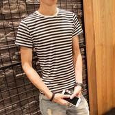 聖誕節交換禮物-夏季男士黑白條紋修身短袖T恤學生韓版圓領半袖衣服男裝潮流t體恤