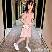 女童洋裝 韓版童裝女童裙子夏裝公主連衣裙2021新款夏季中大兒童洋氣polo衫 快速出貨