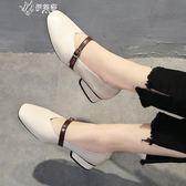 方頭粗跟中跟復古奶奶鞋一字扣單鞋韓版女鞋高跟鞋女      伊芙莎