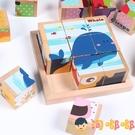兒童3D立體拼圖木質積木六面畫9粒制早教益智玩具【淘嘟嘟】