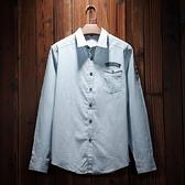 牛仔襯衫-時尚百搭簡約徽章流行男長袖單寧上衣3色71ae46【巴黎精品】